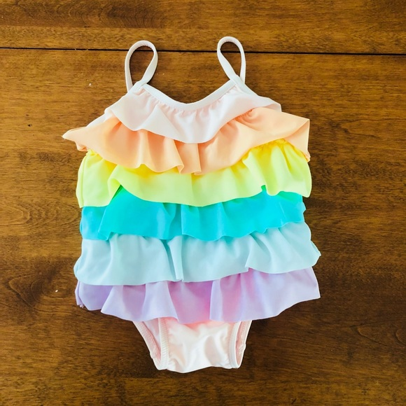 NWT Baby Gap Girls Size 6-12 Months Rainbow Ruffle Swimsuit Bathing Suit